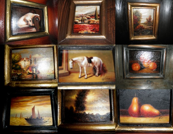 Framed mini oil paintings on wood.